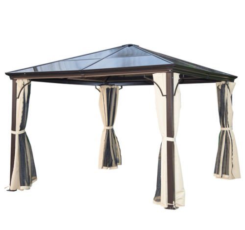 Gazebo 3 X With Polycarbonate Roof 4 Wind Breaks And Integrated Mosquito Net
