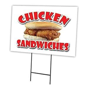 """CHICKEN SANDWICHES 18""""x24"""" Yard Sign & Stake outdoor plastic window"""