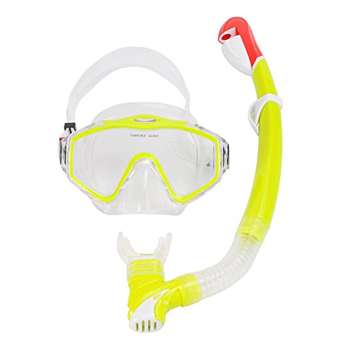 Swimming Goggles Snorkel Mask with Anti-fog Silicone Set (Green) - 5