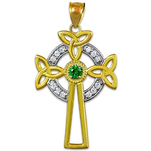 Cross Celtic Tone Gold Two (14K Two-Tone Gold Celtic Cross Trinity Knot Diamond Pendant with Emerald)