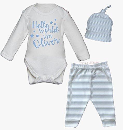 e9e5137cd Hello world I m Name Newborn Baby Vest Pants and Hat Set Babygrow ...