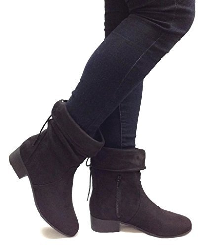 Soda Women's Slouchy Boot Round Toe Foldable Faux Suede, Black, 7