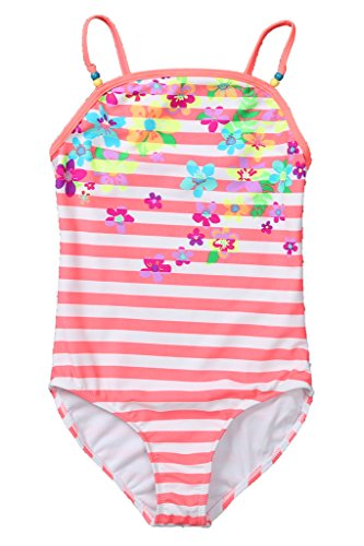 Attraco Big Girls Floral Stripe Splice One Piece Swimsuit Costume Size 10