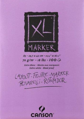 Canson 297237 Zeichenblock XL Marker, DIN A3, 70 g/qm, 100 Blatt, weiß