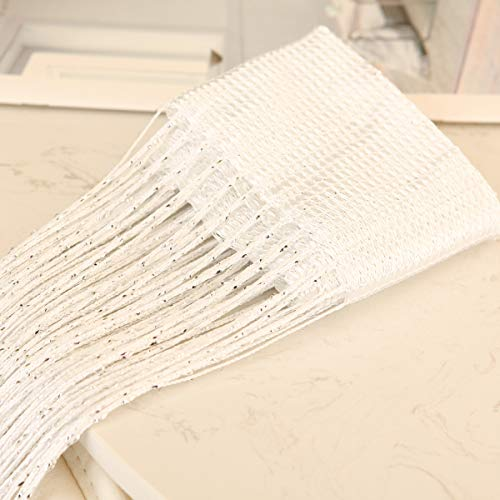 vfabric 1x2M Door String Curtain, Rare Flat Silver Ribbon Thread Fringe Window Panel Room Divider for Wedding Decoration,Festival,Party,Home Decoration,Coffee House(White) -