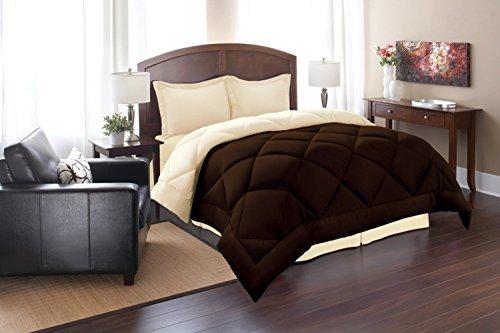 Super Soft Goose Down REVERSIBLE Alternative Comforter, QUEEN, Brown/Cream