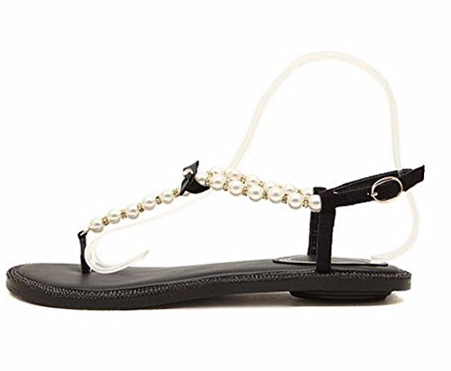 QIYUN.Z Sexy Elegante Frauen Roma Perlen Flip-Flops Strand-Sommer-Böhmen Flache Ferseschuhe Schwarz