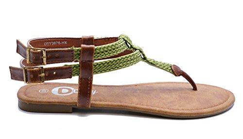 Ladies Flat Green T-Bar Flip-Flop Summer Sandals Gladiator Shoes Sizes 2-8 wsmQdGm