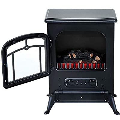 Black Portable Electric Fireplace Stove Heater Adjustable LED Flames 750/1500W with Ebook