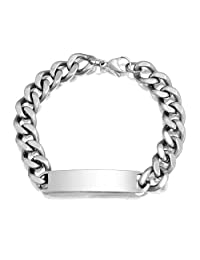 Bling Jewelry Mens Stainless Steel Cuban Curb Chain Link ID Bracelet
