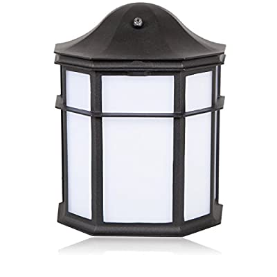 Maxxima Black Aluminum Outdoor LED Wall Pack Light with Dusk to Dawn Photocell Sensor, 1200 Lumens, 3000K, Decorative, Sconce Energy Star