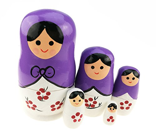 Unigift Cute Beautiful Purple and White Little Girl Flower Pattern Handmade Wooden Russian Nesting Dolls Matryoshka Dolls Set 5 Pieces for Kids Toy Home Decoration