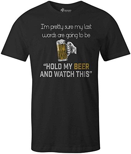 9 Crowns Tees Men's Last Words Beer Drinking T-Shirt-LW Black-3XL ()