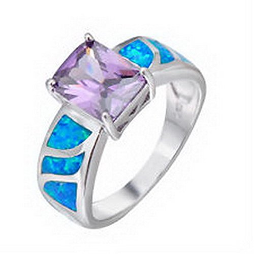 Ct Gemstone (jacob alex ring 5.80/ct Purple Zircon Gemstone Wedding Ring White Opal 925 Silver Filled Size6-9)