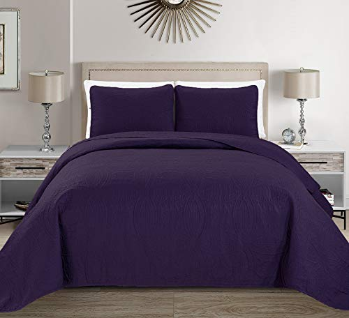 - MK Home Mk Collection 3pc King/California King Solid Embossed Bedspread Bed Cover Over Size Dark Purple