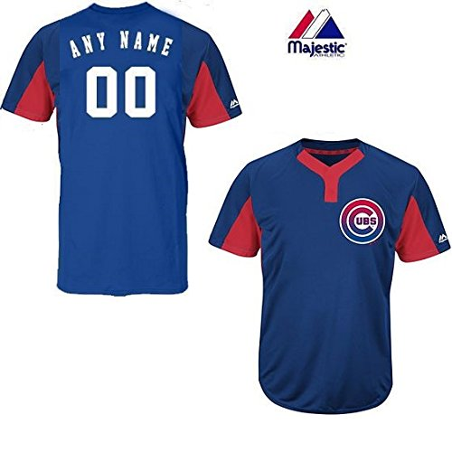 Majestic Custom Adult Large Chicago Cubs 2-Button Placket Cool-Base MLB Licensed Jersey