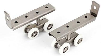 2 x White tono de plata 4 ruedas armario ropero puerta corrediza juego de rodillos: Amazon.es: Bricolaje y herramientas