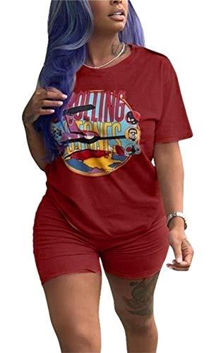 Lucuna Women Summer Sport 2 Piece Outfits Round Neck Short Sleeve Cartoon Printed T-Shirt Short Pants ()