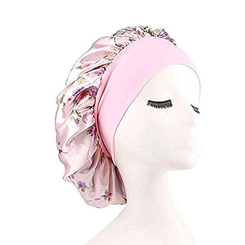 (Silk Wide Band Bonnet Night Sleep Cap Sleeping Head Cover for Women Girls (Light Pink Floral))
