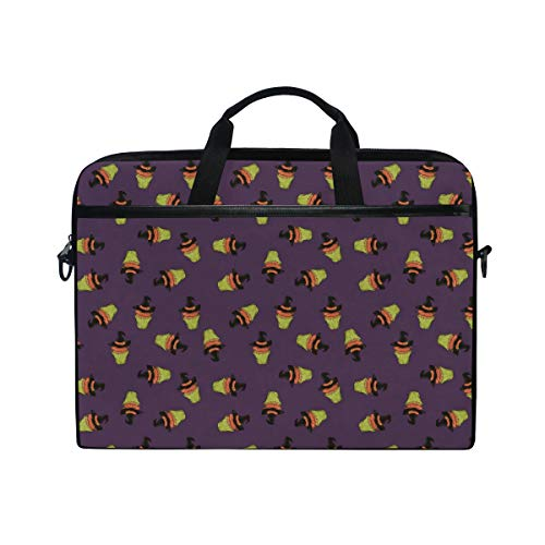 Halloween Witch Hat Cake Purple Laptop Bag 15-15.4 Inch Laptop Covers Laptop Messenger Bag Computer Case Laptop Shoulder Bag Durable Tablet Laptop Sleeve Pockets for -
