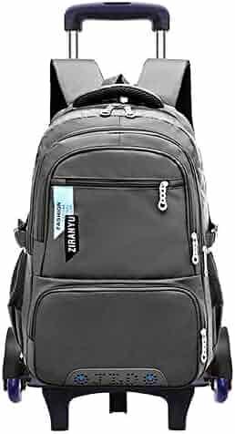 b52a9747b8ff Fanci Solid Color Boys Waterproof Middle High School Rolling Trolley  Backpack Travel Rucksack