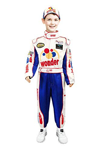Ricky Bobby Kids Child NASCAR Jumpsuit + Cap Full Costume Talladega Nights (S (Age 4-6)) -