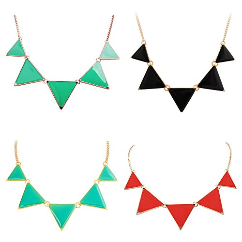 Jane Stone 4PCS Fashion Bubble Bib Collar Necklace Triangle Statement Necklace for (Cheap Wholesale Items)