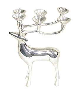 """Amazon.com: 8"""" Silver Reindeer Candle Holder (Set of 2): Home ..."""