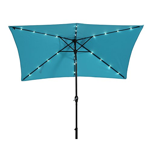 Paulla 10 x 6.5ft LED Lighted Patio Market Umbrella Outdoor Solar Powered Table Umbrella, 6 Ribs (Sky Blue)