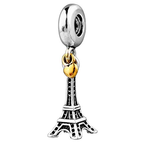 925 Sterling Silver Charms Dangles for Bracelets (Eiffel Tower)