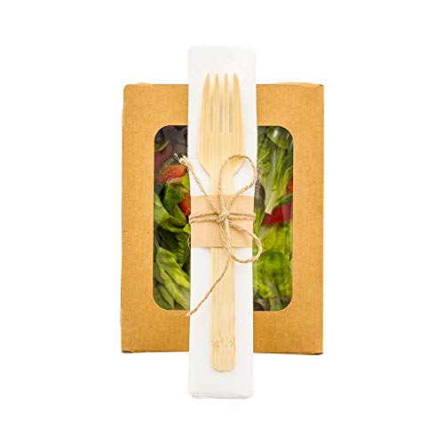 Natural Bamboo Disposable Flatware Set – with White Napkin – 6 3/4″ x 3 1/4″ x 3/4″ – 100 count box – Restaurantware