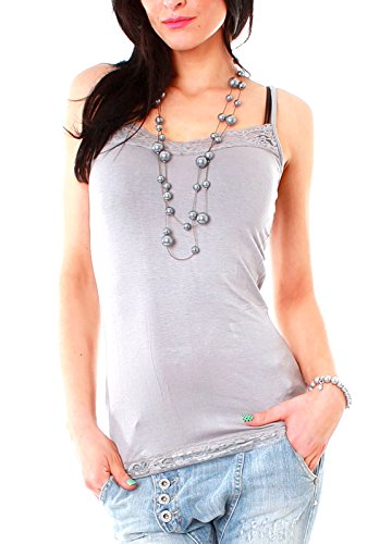 Damen Spaghetti-Top Träger Top mit Spitze uni Hemdchen einfarbig Shirt one-size für Größe Gr 34 36 38 XS S M grau Hellgrau