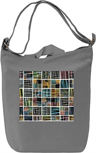 Square Pattern Borsa Giornaliera Canvas Canvas Day Bag| 100% Premium Cotton Canvas| DTG Printing|