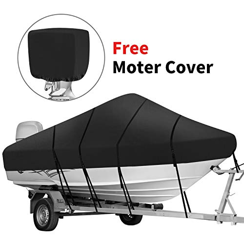 Iyoyo Waterproof 420D Trailerable Polyester Canvas Full Size Durable Boat Cover Black for 17'-19'L Runabout Boat,V-Hull,I/O Bass Boats,Free Motor Cover