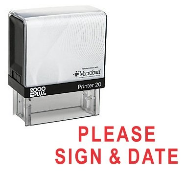 (PLEASE SIGN & DATE Office Self Inking Rubber Stamp - Red Ink)
