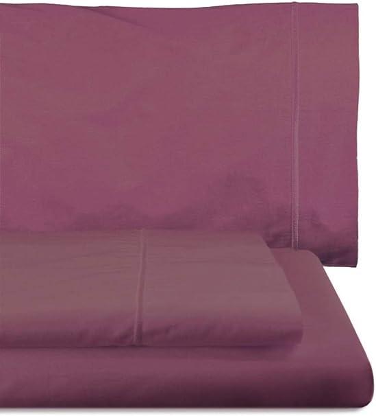 Lasa Juego Sábanas, algodón 100%, percal 200 Hilos, Malva, 250 x 285 cm158 cm2x45 x 85 cm, 3: Amazon.es: Hogar