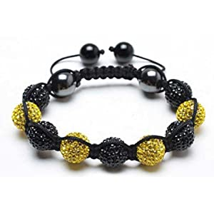 Bling Jewelry Shamballa Inspired Bracelet Black and Yellow Crystal Balls