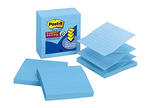 Post-it Super Sticky Pop-up Notes, 2x Sticking Power, 4 in x 4 in, Periwinkle, Lined, 5 Pads/Pack (R440-AQSS)