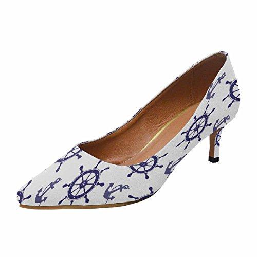 Talon De Chaton Lowprint Womensprintprint Bout Pointu Robe Pompe Chaussures Nautique Roue Et Ancre Multi 1