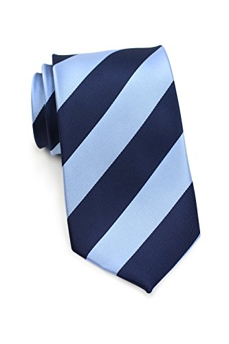 Bows-N-Ties Men's Necktie Wide Striped Microfiber Satin Tie 3.25 Inches (Sky Blue and Navy)