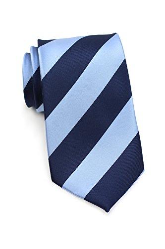 Bows-N-Ties Men's Necktie Wide Striped Microfiber Satin Tie 3.25 Inches (Sky Blue and Navy) (Sky Blue Stripes Tie)