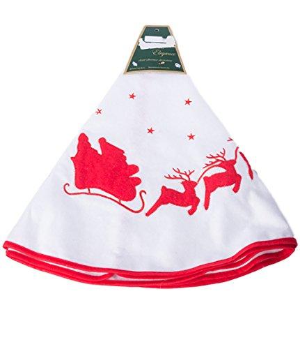 Christmas White and Red Santa's Sleigh Tree Skirt - 30 Inch