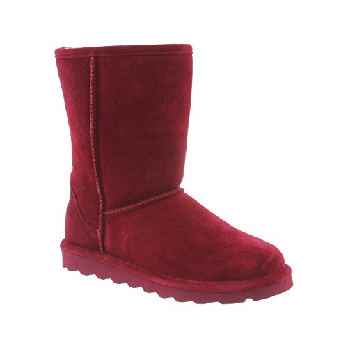 How To Waterproof Suede Boots - BEARPAW Women's Elle Short Bordeaux Suede Distressed Fur Lined Winter Boot (9)