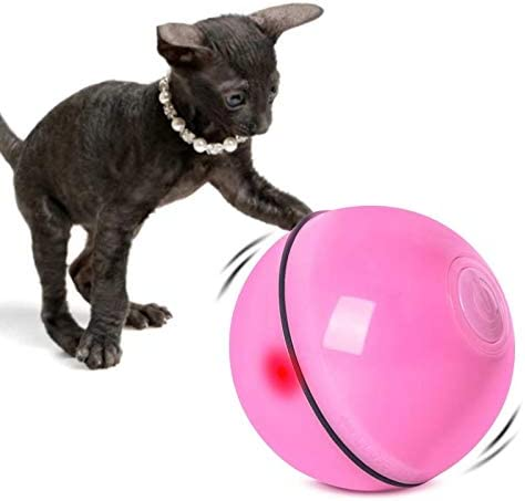 STARONE USB Rechargeable Pet Toy Intelligent Interactive Cat Toy 360-Degree Automatic Rotation Bal Built-in Rotating Led Light Cat and Dog Sports Smart Dodge Obstacle Toy Ball (Red)