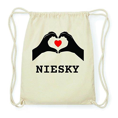 JOllify NIESKY Hipster Turnbeutel Tasche Rucksack aus Baumwolle - Farbe: natur Design: Hände Herz