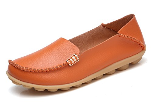 VenusCelia Women's Natural Comfort Walking Flat Loafer Orange/Tangerine
