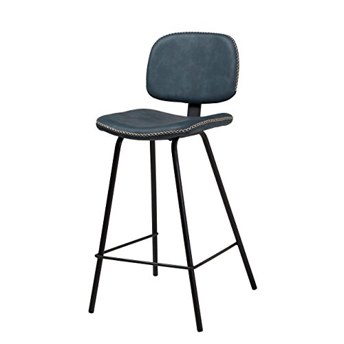 Celine Counter Stools with Gold Stitching Blue Kitchen Counter High Four Legged with backs dining chair wine stool midcentury modern style art deco french style upholstery family counter stool.