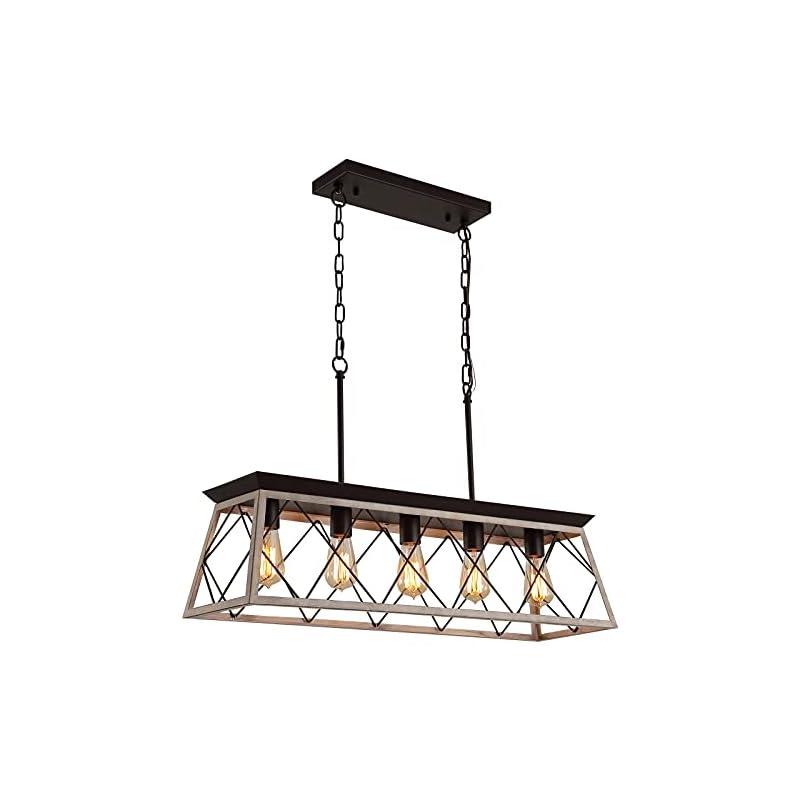 Q&S 5-Light Kitchen Island Light Fixtures Farmhouse Rustic Vintage Industrial Country Style Chandelier Oak+ORB Linear…