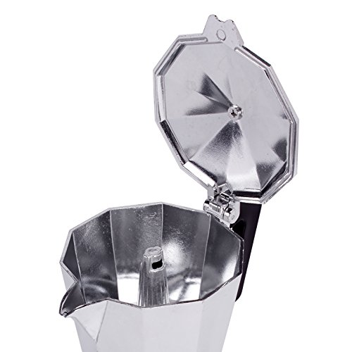 MSV Italian Coffee Machine for 3 Cups, Black/Silver