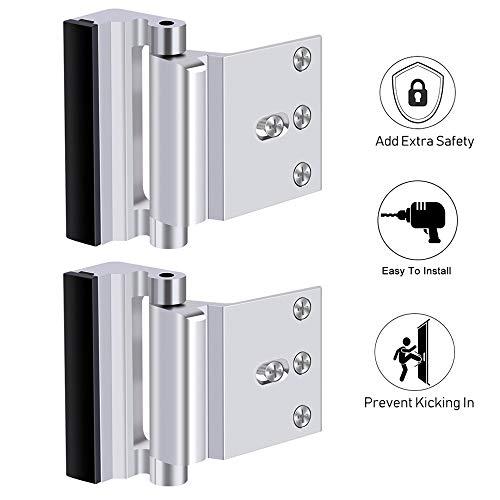 Door Reinforcement Lock for Extra Safety to Your Home and Prevent Unauthorized Entry Home Security Door Lock Childproof Door Lock for Inward Swinging Door to Defend Your Home Safe(2 Pack)